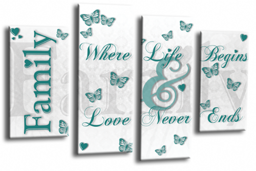 Family Quote Wall Art Picture White Teal Love Print